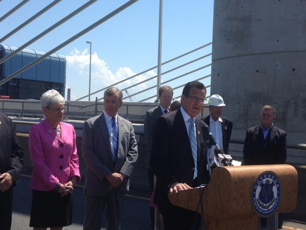 Conn. Governor Dannel Malloy on the Q Bridge on Monday.