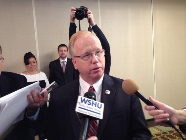 Danbury Mayor Mark Boughton, after announcing his candidacy for Governor on Wednesday