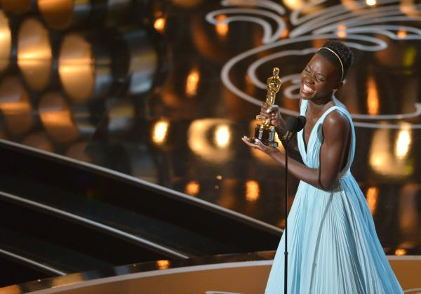 "Lupita Nyong'o accepts the award for best actress in a supporting role for ""12 Years a Slave"" during the Oscars on Sunday. Nyong'o is a graduate of the Yale School of Drama."