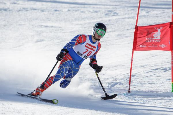 Patrick Parnell competing in the 2014 IPC Alpine Skiing World Cup in Copper, Colorado.