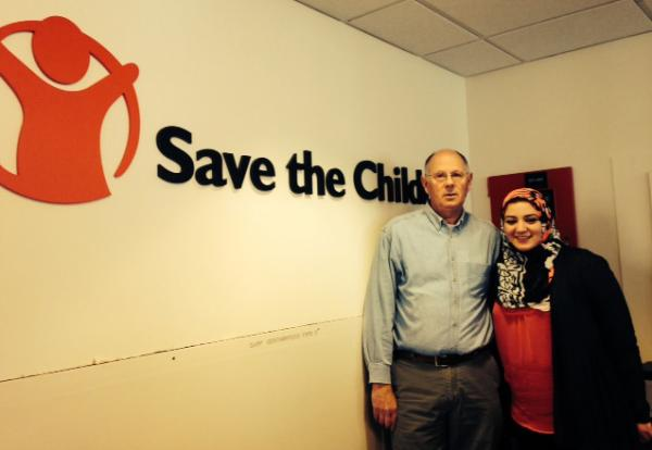 Gary Shaye, Senior Director of Humanitarian Operations at Save the Children, and Deema Akach, a graduate student at the University of Bridgeport.