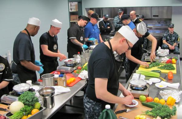 Naval Submarine Base chefs showing off their skills in competition.