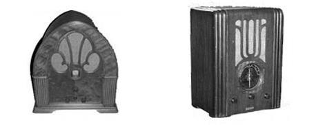 """1931 Philco model 70 """"cathedral""""; 1930s-era Silvertone """"tombstone"""""""