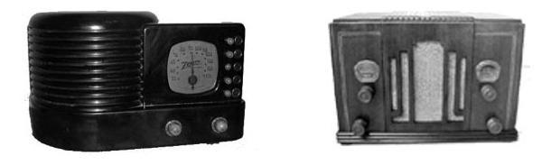 1938 Zenith table radio; early 1930s Philco table radio