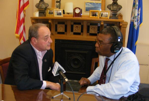 Norwalk State Representative Larry Cafero (left) with WSHU's Capitol Reporter Ebong Udoma