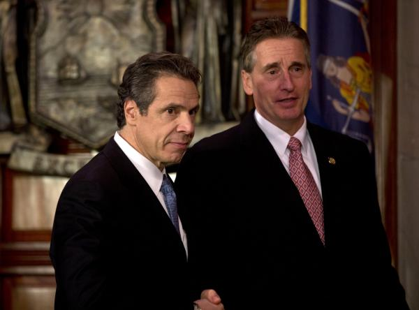 New York Gov. Andrew Cuomo, left, and Lt. Gov. Robert Duffy on Monday, Jan. 14, 2013, in Albany, N.Y.