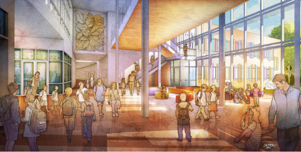 A rendering of the planned main central lobby at the new Sandy Hook Elementary School