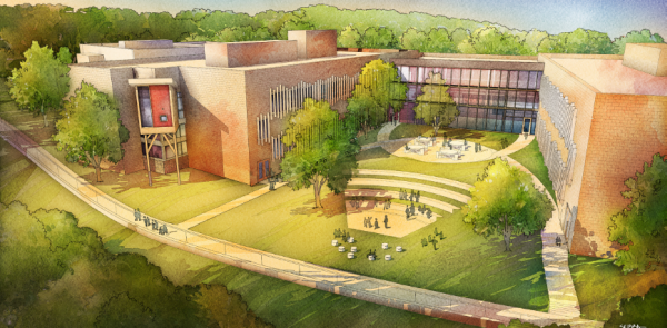 A rendering of the new Sandy Hook Elementary school created by the architectural firm, Svigals Partners. The firm says there will be three classroom wings, two of which are 2-stories, that extend like fingers of an open hand on the site. Separating each one are three courtyards. Overlooking the central courtyard from the second floor are two breakout spaces - imagined as tree houses to create an alternate learning environment for students.