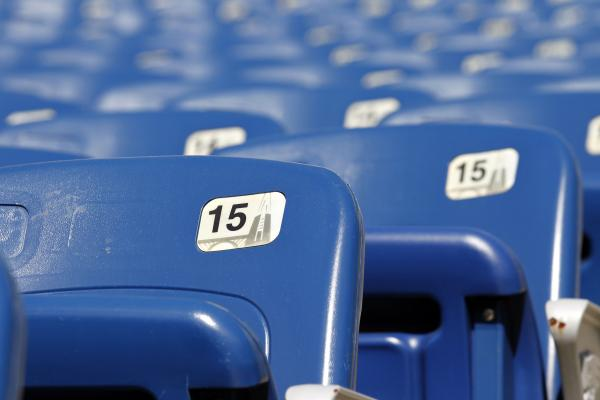 File photo- Empty rows of seats are seen at Gillette Stadium in Foxborough, Mass.