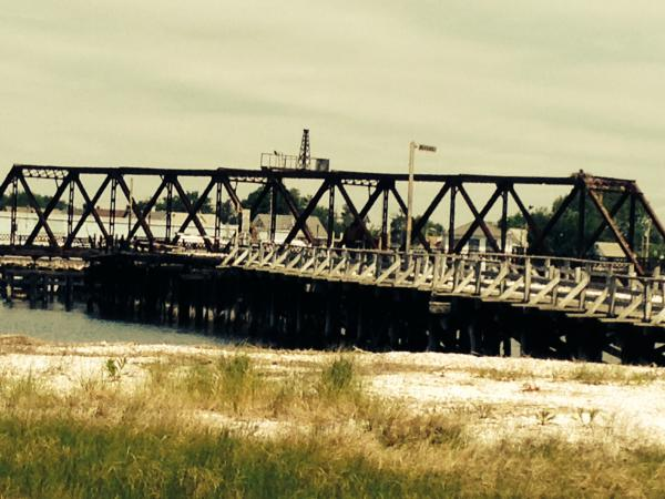 A view of a bridge that used to connect Pleasure Beach to Bridgeport. A portion of the bridge caught fire and burned down in 1996.