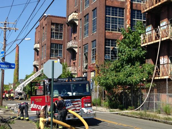 The former Remington Arms factory was the site of a fire on Tuesday, Aug. 19, 2014.