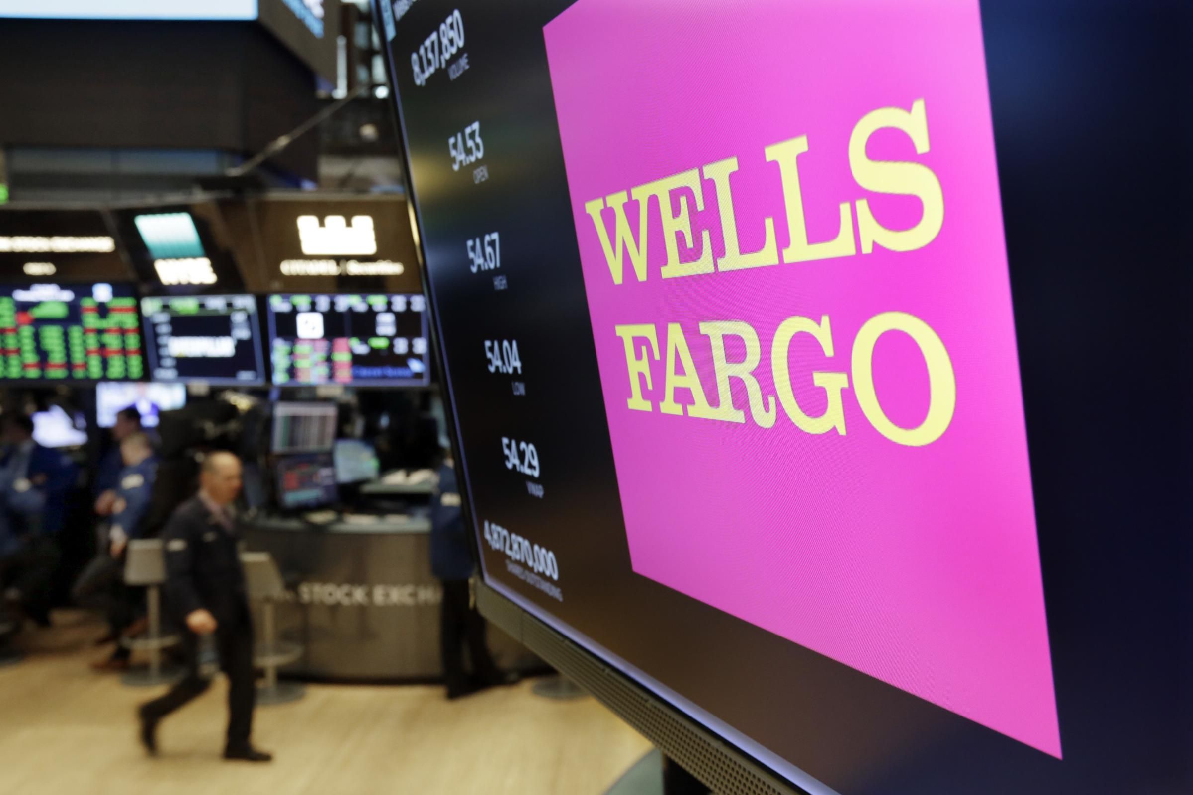 The Logo For Wells Fargo Ears Above A Trading Post On Floor Of New York Stock Exchange In May