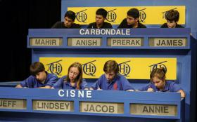 Students from Carbondale High School and Cisne High School work quickly to solve questions on WSIU-TV's Scholastic Hi-Q.