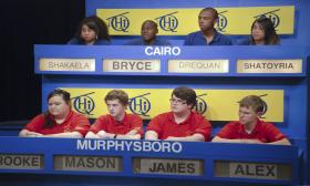 Students from Murphysboro High School and Cairo High School answer challenging questions in the first round of WSIU-TV's Scholastic Hi-Q.
