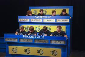 Carterville High School students compete against Pinckneyville Community High School students on Scholastic Hi-Q.
