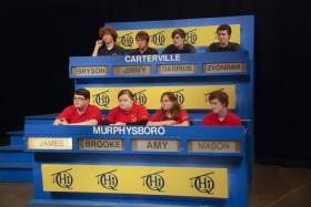 Carterville High School students compete against Murphysboro High School students on Scholastic Hi-Q.