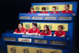 Murphysboro High School students compete against Sandoval High School students on Scholastic Hi-Q.