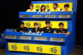 Carbondale Community High School students compete against O'Fallon Township High School students on Scholastic Hi-Q.