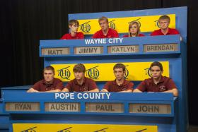 "Top students from Wayne City and Pope County High Schools will compete on ""Scholastic Hi-Q."""