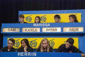 Herrin High School students compete against Marissa High School students on Scholastic Hi-Q.