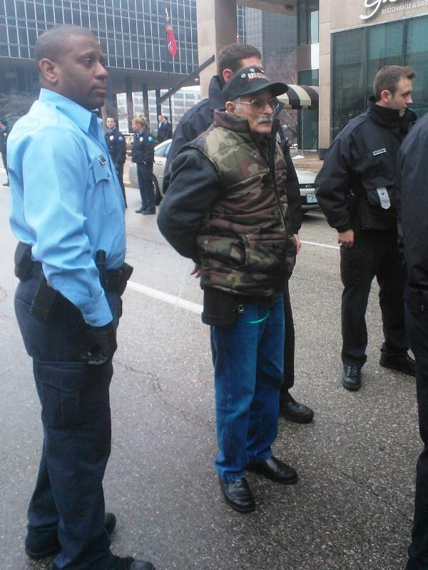 UMWA retired coal miner James Jones of Harrisburg area arrested by St. Louis police during a protest at Peabody Energy