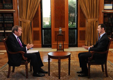 Charlie Rose and Bashar al-Assad
