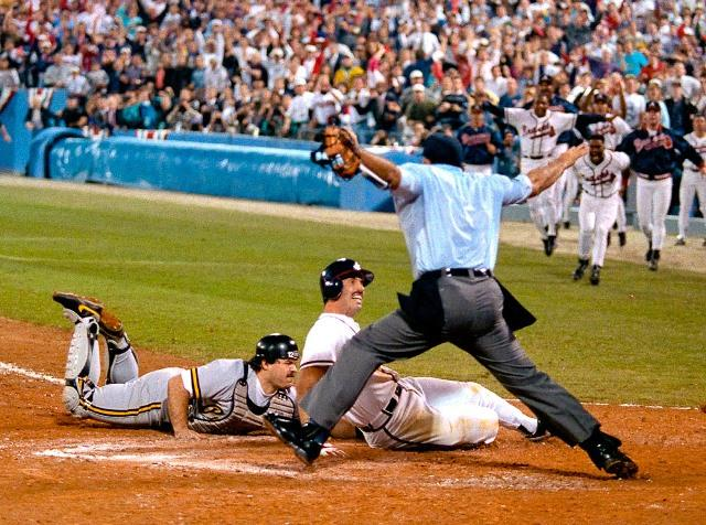 Atlanta's Sid Bream's dramatic slide into Home ended the Pirates last playoff run in 1992