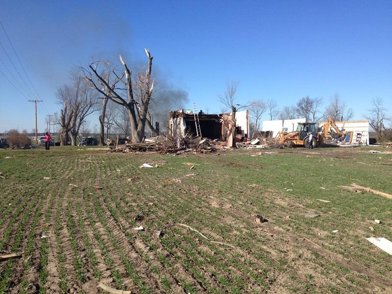 Storm damage in New Minden, IL in Washington County