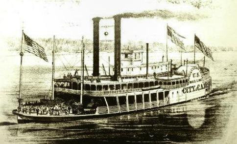 steamboat the City of Cairo was built in Metropolis.  It was 272 feet long and 41 feet across.