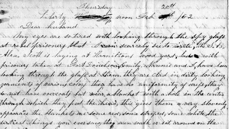 A letter written by Nancy Clendenin Mann to her husband John during the Civil War
