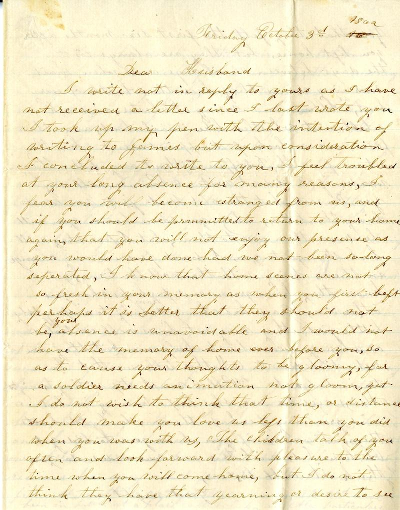 A Civil War era letter written by a southern Illinois woman to her husband while he was serving in the Civil War