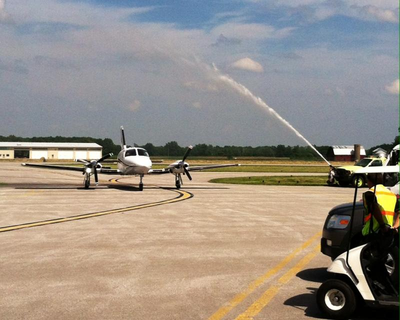 SIU Avaition's David NewMyer and Keith Mortag return from a training flight at Southern Illinios Airport.