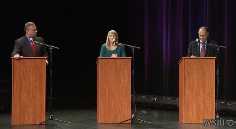 12th District Congressional candidates Republican Mike Bost, Green Party Paula Bradshaw, and Democrat Bill Enyart take part in a debate in Marion