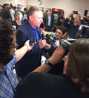 Mike Bost talks with reporters after winning Illinois' 12th Congressional race.