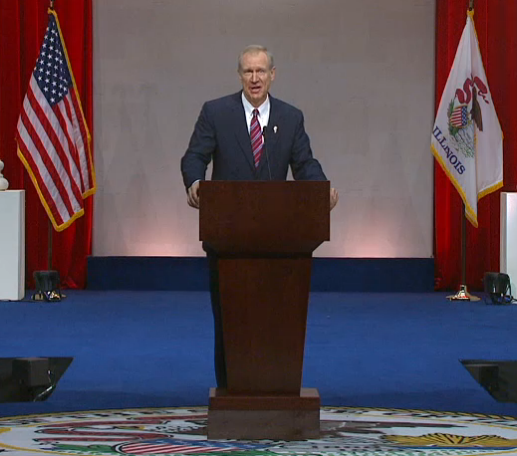 IL Gov. Bruce Rauner delivers his inaugural address in Springfield