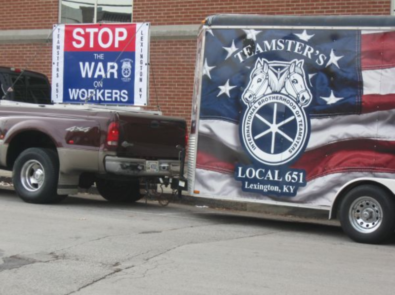 A teamsters truck is parked outside the Warren County, KY courthouse on the day the fiscal court gave final approval to a local right-to-work law