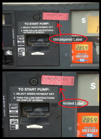 photo of tampered gas pump