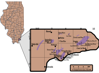 Areas where Fluorspar has been mined in Hardin County