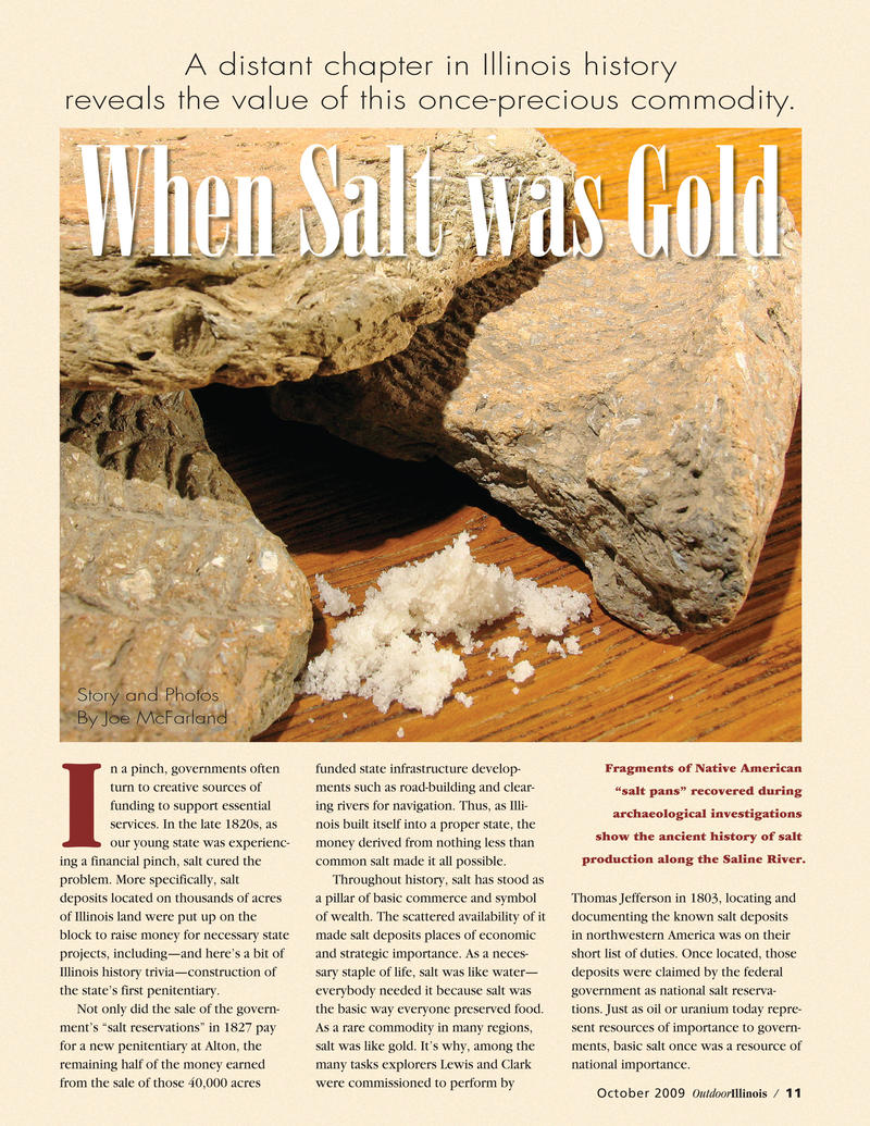 An article about the southern Illinois Salt Industry in the magazine Outdoor Illinois