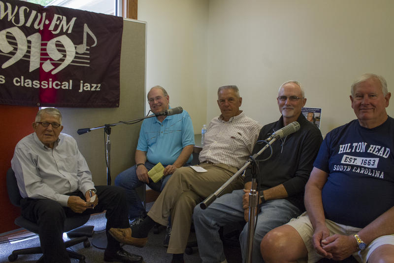 Former Benton Basketball Coach Rich Herrin and former team members Hugh Frailey, Terry Thomas, Bill Smith, and Rich Yunkus take part in WSIU's Listening Project at the Benton Public Library
