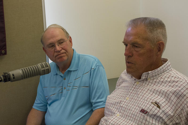 Former Benton High School Basketball players Hugh Frailey and Terry Thomas take part in WSIU's Listening Project at the Benton Library