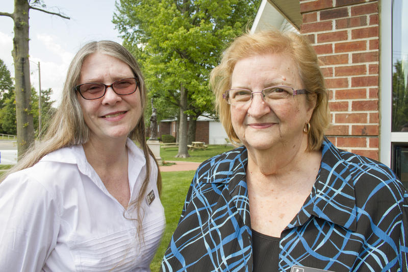 Benton Public Library Director Susan Stickel and longtime library volunteer Mary Eubanks take part in WSIU's Listening Project
