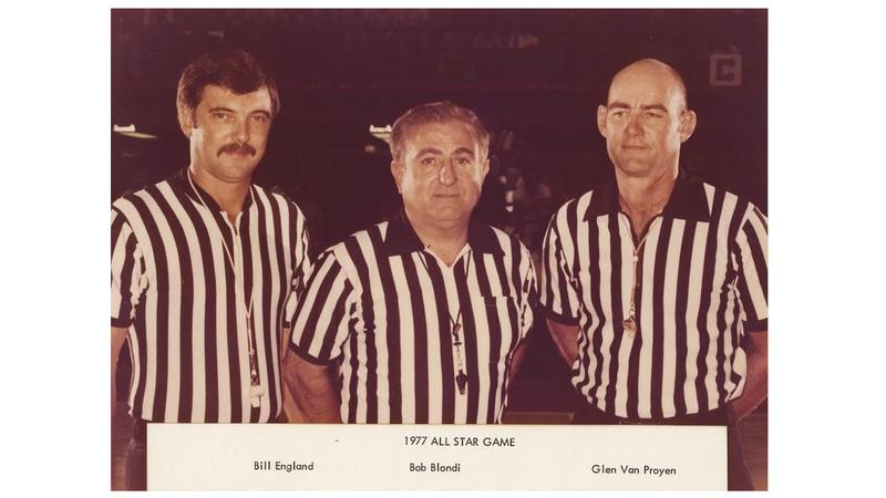 Bob Blondi pictured with fellow referees at the 1977 All Star game