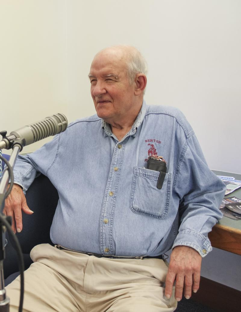 "Gene ""Mr. A"" Alexander takes part in the WSIU Listening Project as part of the Benton Library's 100th Anniversary"