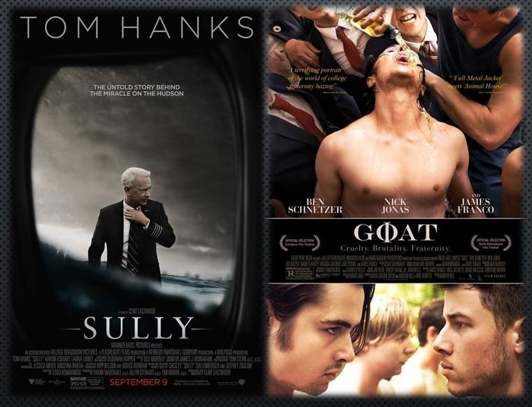 movie posters for Sully and Goat
