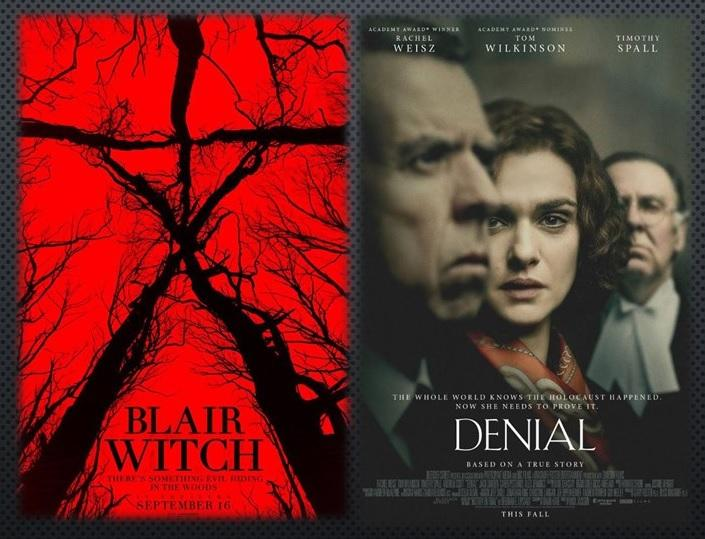 movie posters for Blair Witch and Denial