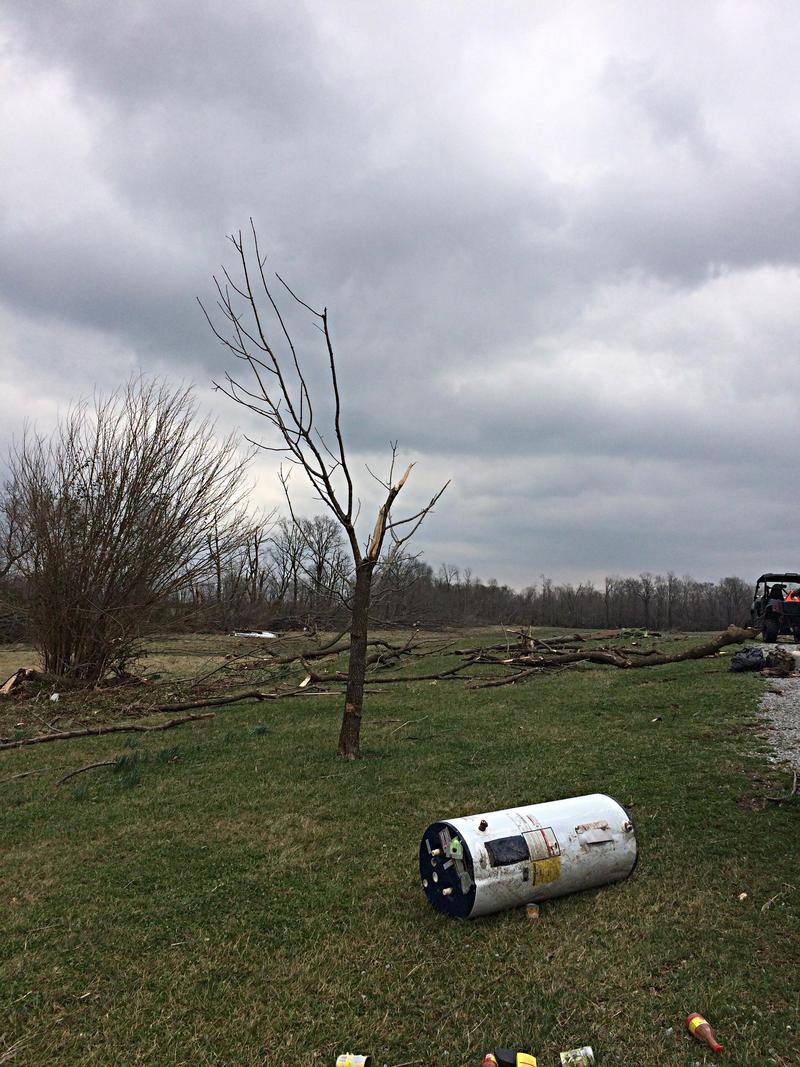 A Water Heater and Damaged Tree Located 50 Yards From a Destroyed Home on Highway 184 in Franklin County. Photo Taken March 1st, 2017.