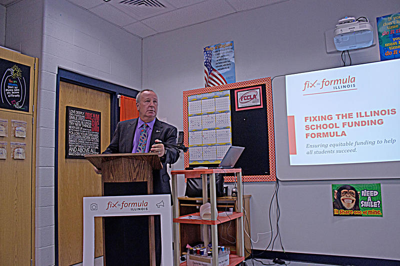 Crab Orchard CUSD #3 Superintendent Derek Hutchins  Speaks At A Town Hall Meeting At Crab Orchard High School On Wednesday April 19th, 2017.