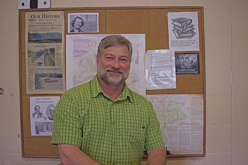 Carrier Mills History Teacher Mark Motsinger At The High School.  Photo Taken April 15th, 2015.