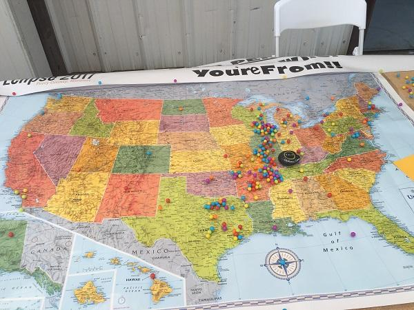 A map of the U.S. at the Perryville Regional Airport allowed pilots to pin their location.